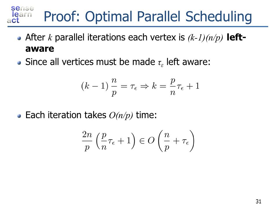 Proof: Optimal Parallel Scheduling After k parallel iterations each vertex is (k-1)(n/p) left- aware Since all vertices must be made τ ε left aware: E