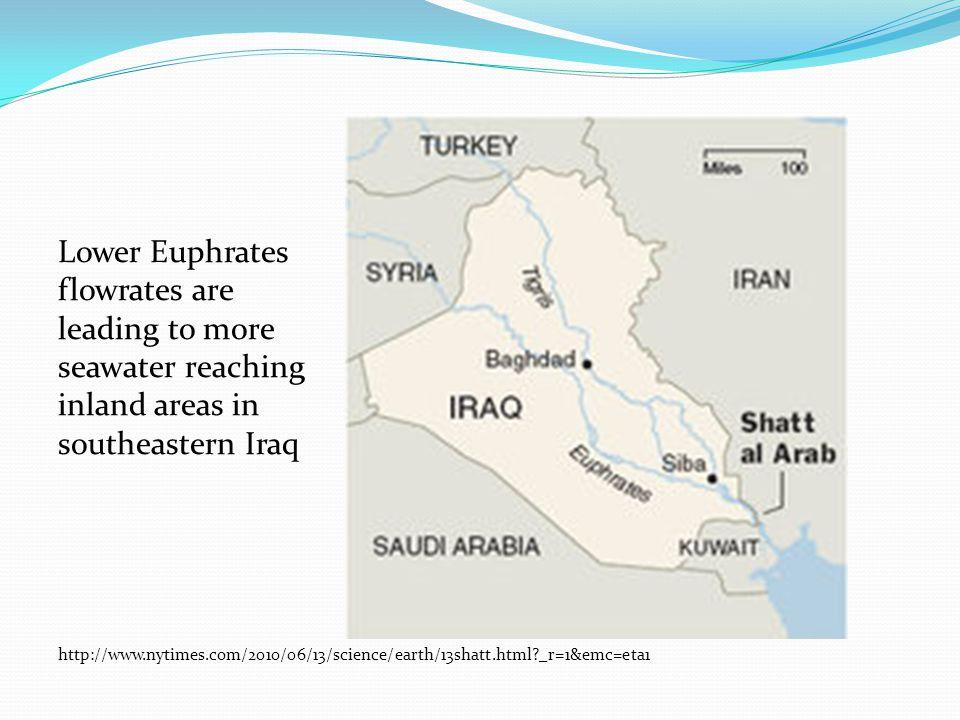 Lower Euphrates flowrates are leading to more seawater reaching inland areas in southeastern Iraq http://www.nytimes.com/2010/06/13/science/earth/13shatt.html _r=1&emc=eta1