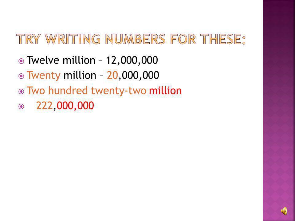 Twelve million  Twenty million  Two hundred twenty-two million
