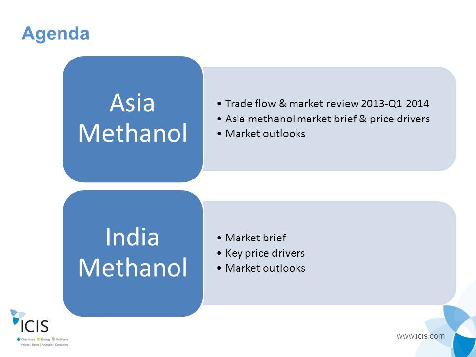 www.icis.com Agenda Trade flow & market review 2013-Q1 2014 Asia methanol market brief & price drivers Market outlooks Asia Methanol Market brief Key