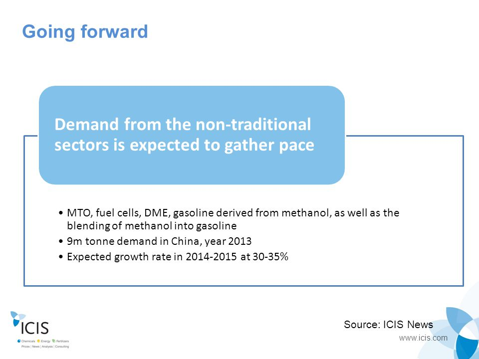 www.icis.com End- users MTO, fuel cells, DME, gasoline derived from methanol, as well as the blending of methanol into gasoline 9m tonne demand in Chi