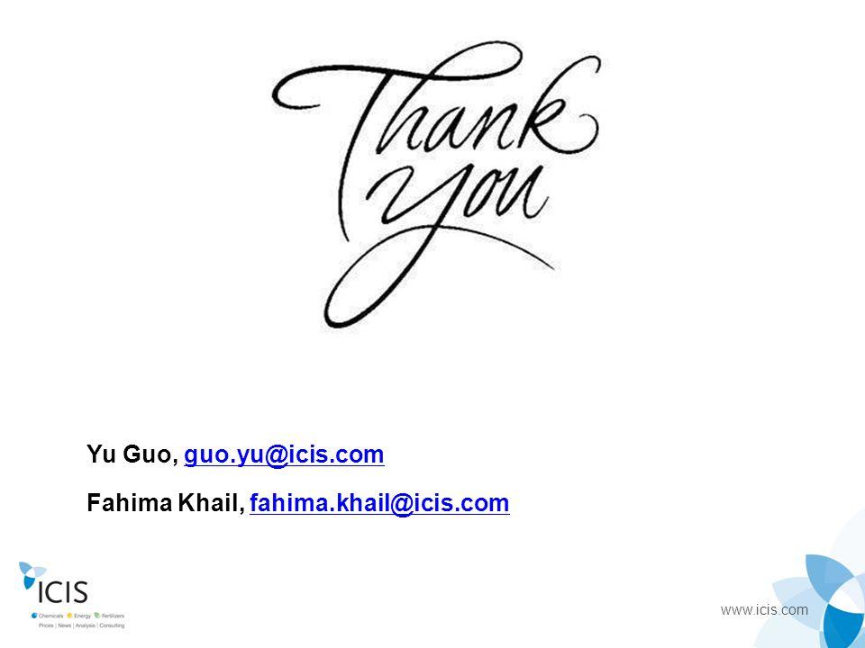 www.icis.com Yu Guo, guo.yu@icis.comguo.yu@icis.com Fahima Khail, fahima.khail@icis.comfahima.khail@icis.com