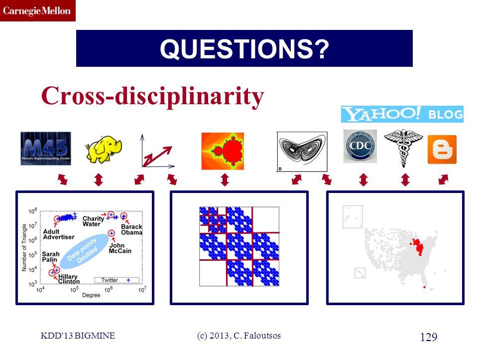 CMU SCS TAKE HOME MESSAGE: Cross-disciplinarity KDD 13 BIGMINE(c) 2013, C. Faloutsos 129 QUESTIONS?