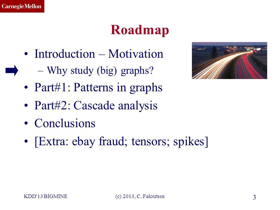 CMU SCS (c) 2013, C. Faloutsos 3 Roadmap Introduction – Motivation –Why study (big) graphs.