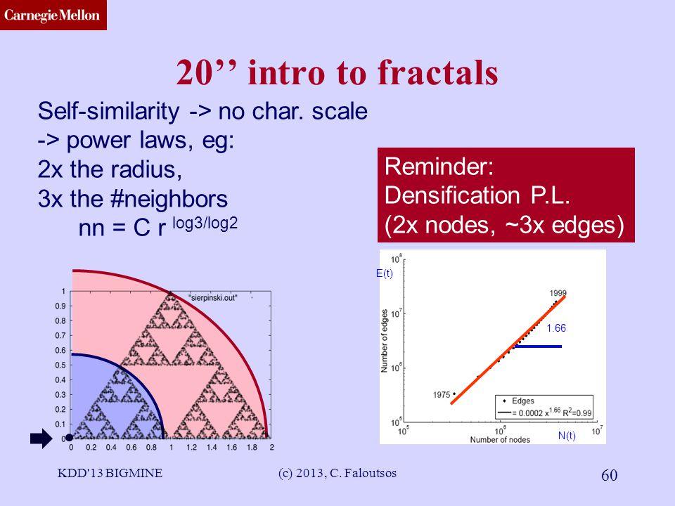 CMU SCS 20'' intro to fractals KDD 13 BIGMINE(c) 2013, C.