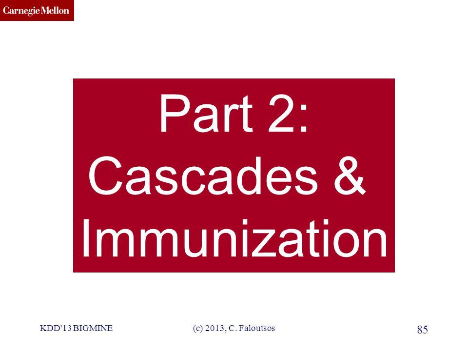 CMU SCS KDD 13 BIGMINE(c) 2013, C. Faloutsos 85 Part 2: Cascades & Immunization