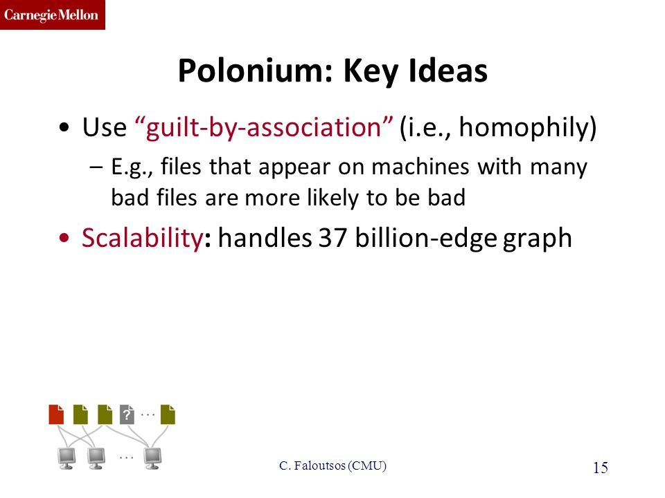 CMU SCS Polonium: Key Ideas Use guilt-by-association (i.e., homophily) –E.g., files that appear on machines with many bad files are more likely to be bad Scalability: handles 37 billion-edge graph IBM-PBGH June 2013 15 C.
