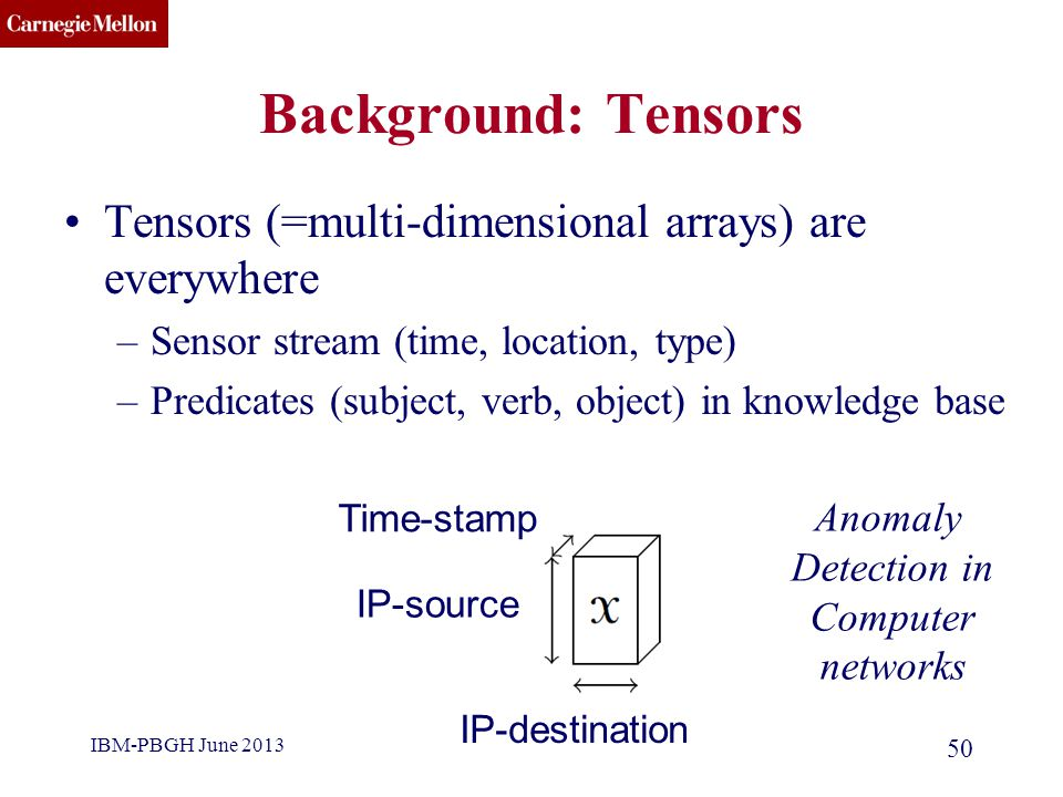 CMU SCS Background: Tensors Tensors (=multi-dimensional arrays) are everywhere –Sensor stream (time, location, type) –Predicates (subject, verb, objec