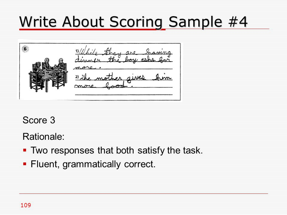 Write About Scoring Sample #4 109 Score 3 Rationale:  Two responses that both satisfy the task.