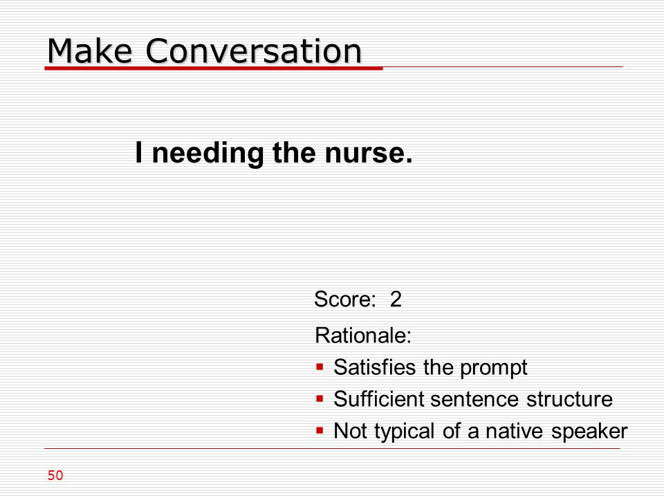 Make Conversation I needing the nurse.