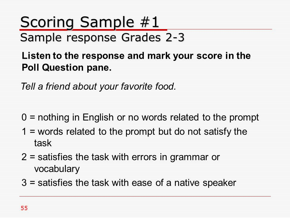 Scoring Sample #1 Sample response Grades 2-3 Tell a friend about your favorite food.