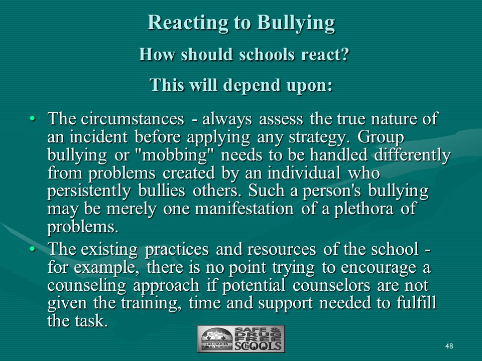 48 Reacting to Bullying How should schools react? This will depend upon: The circumstances - always assess the true nature of an incident before apply
