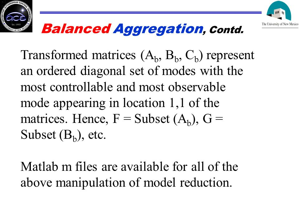 Balanced Aggregation, Contd.