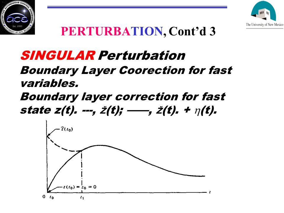 PERTURBATION, Cont'd 3 SINGULAR Perturbation Boundary Layer Coorection for fast variables.