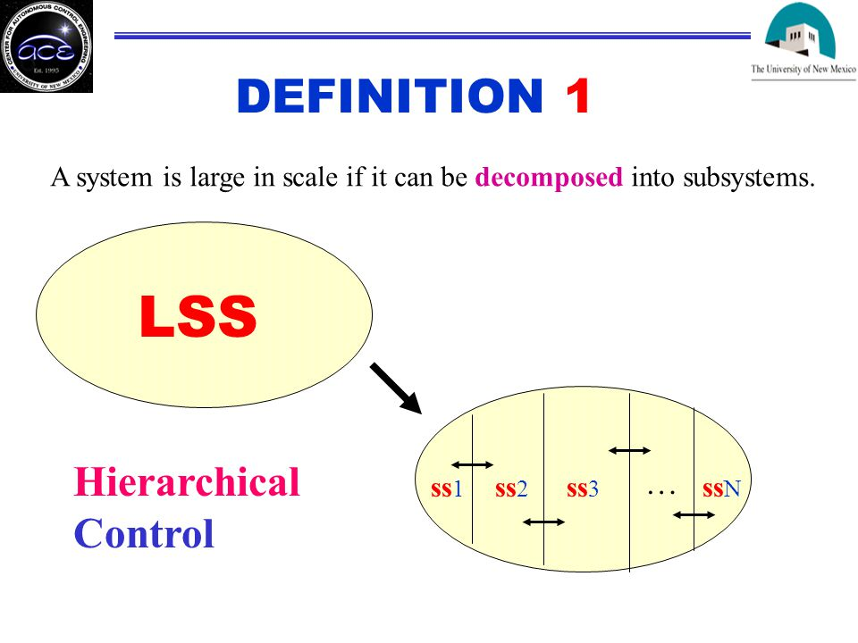 DEFINITION 1 A system is large in scale if it can be decomposed into subsystems.