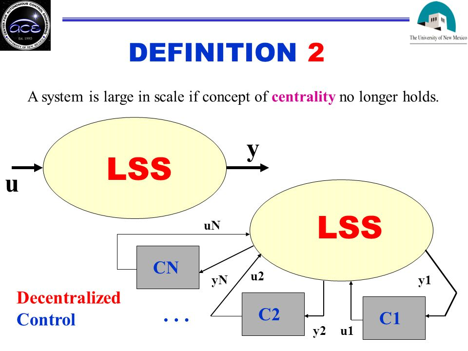 DEFINITION 2 A system is large in scale if concept of centrality no longer holds.