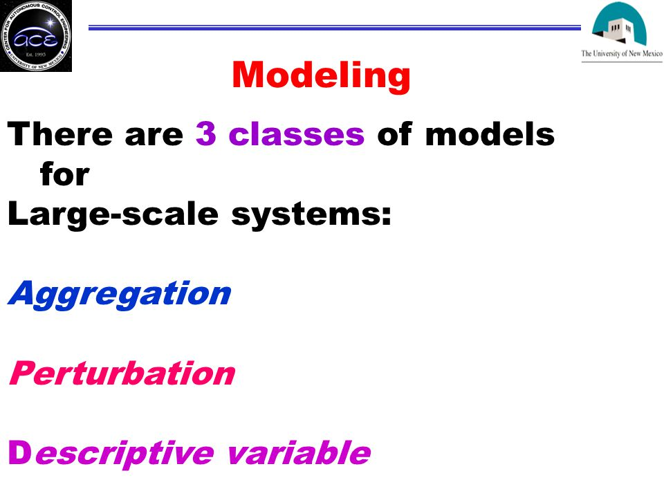 Modeling There are 3 classes of models for Large-scale systems: Aggregation Perturbation Descriptive variable