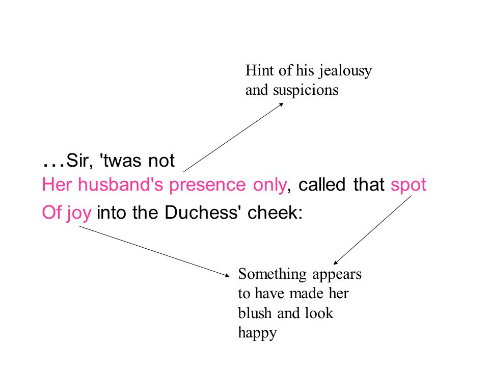 … Sir, 'twas not Her husband's presence only, called that spot Of joy into the Duchess' cheek: Something appears to have made her blush and look happy