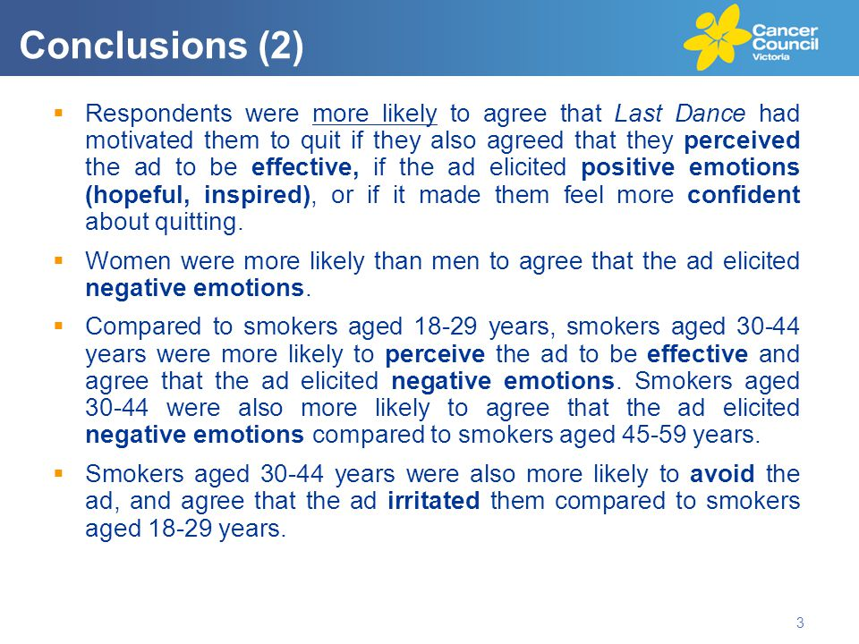  Respondents were more likely to agree that Last Dance had motivated them to quit if they also agreed that they perceived the ad to be effective, if the ad elicited positive emotions (hopeful, inspired), or if it made them feel more confident about quitting.