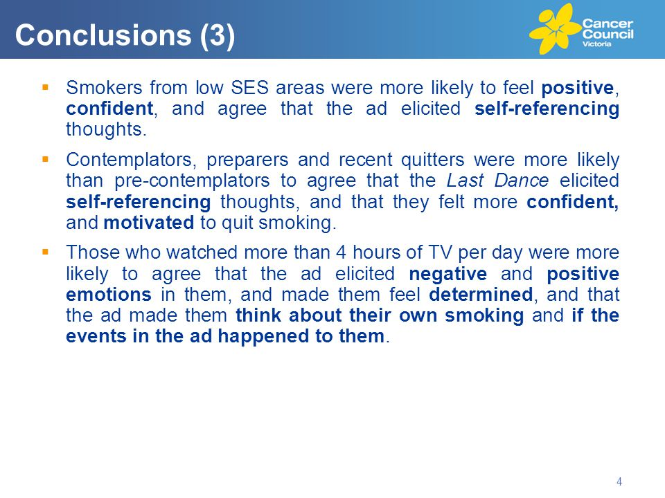  Smokers from low SES areas were more likely to feel positive, confident, and agree that the ad elicited self-referencing thoughts.