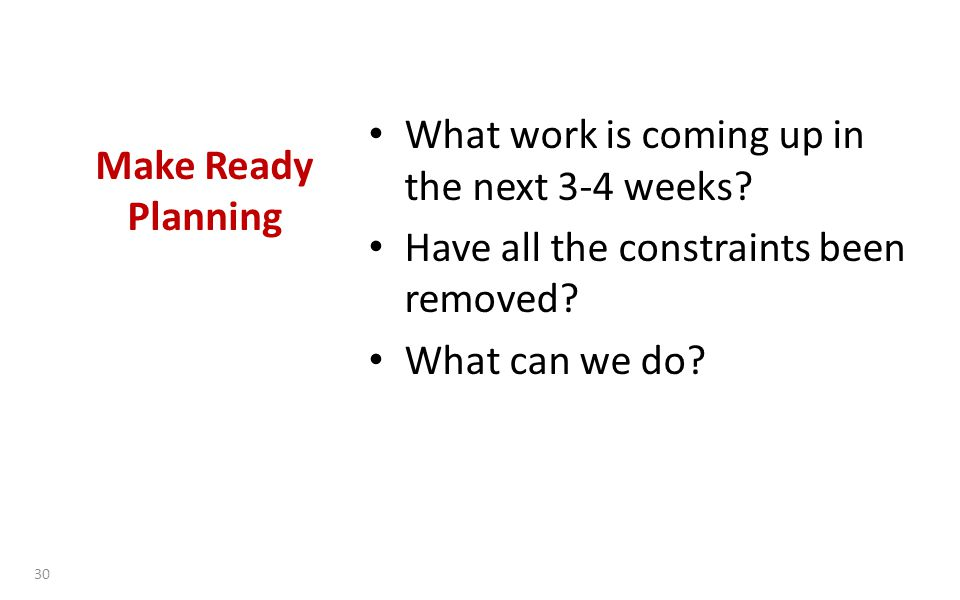 Make Ready Planning What work is coming up in the next 3-4 weeks.