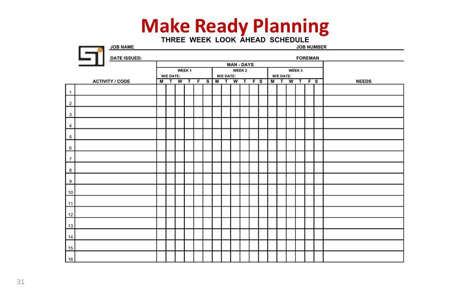 31 Make Ready Planning