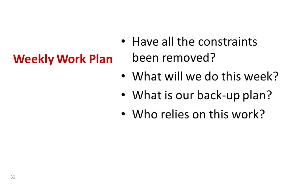 Weekly Work Plan Have all the constraints been removed.