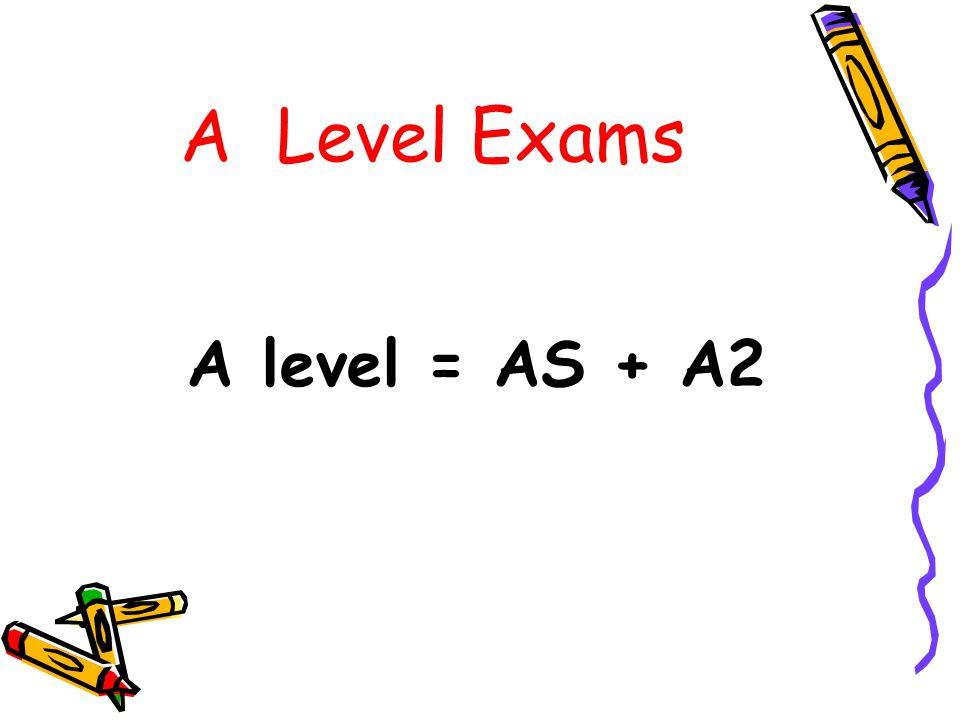 A Level Exams A level = AS + A2