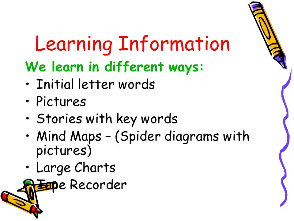 Learning Information We learn in different ways: Initial letter words Pictures Stories with key words Mind Maps – (Spider diagrams with pictures) Large Charts Tape Recorder