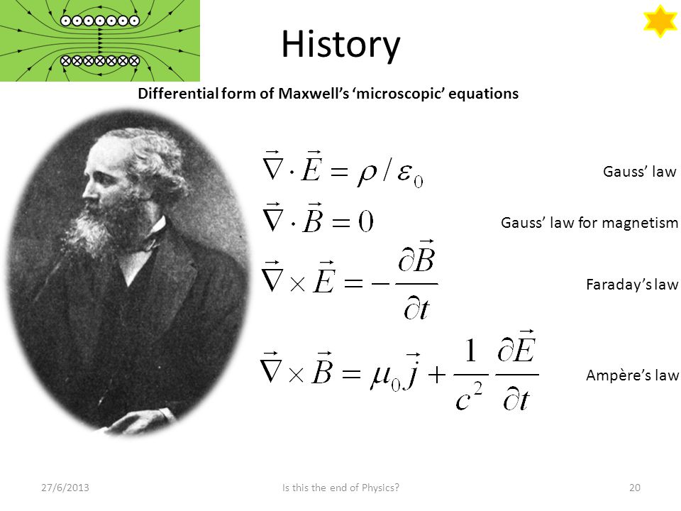 History 27/6/201320Is this the end of Physics? Differential form of Maxwell's 'microscopic' equations Gauss' law Gauss' law for magnetism Faraday's la