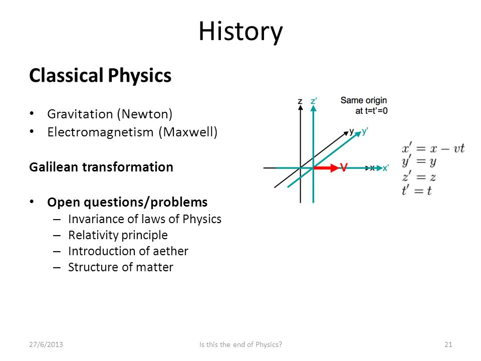 History Classical Physics Gravitation (Newton) Electromagnetism (Maxwell) Galilean transformation Open questions/problems – Invariance of laws of Physics – Relativity principle – Introduction of aether – Structure of matter 27/6/2013Is this the end of Physics 21