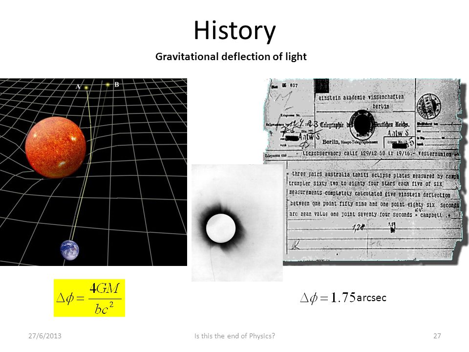 History 27/6/201327Is this the end of Physics? Gravitational deflection of light arcsec