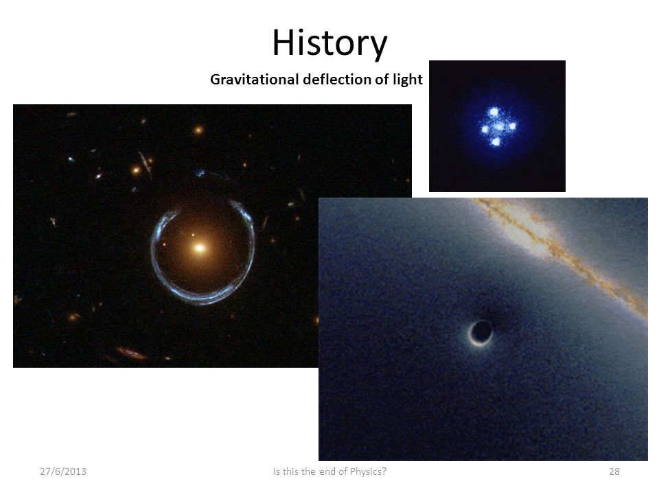History 27/6/201328Is this the end of Physics Gravitational deflection of light