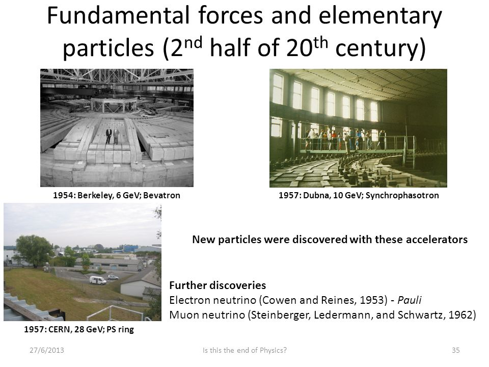 Fundamental forces and elementary particles (2 nd half of 20 th century) 27/6/2013Is this the end of Physics 35 1954: Berkeley, 6 GeV; Bevatron1957: Dubna, 10 GeV; Synchrophasotron 1957: CERN, 28 GeV; PS ring New particles were discovered with these accelerators Further discoveries Electron neutrino (Cowen and Reines, 1953) - Pauli Muon neutrino (Steinberger, Ledermann, and Schwartz, 1962)