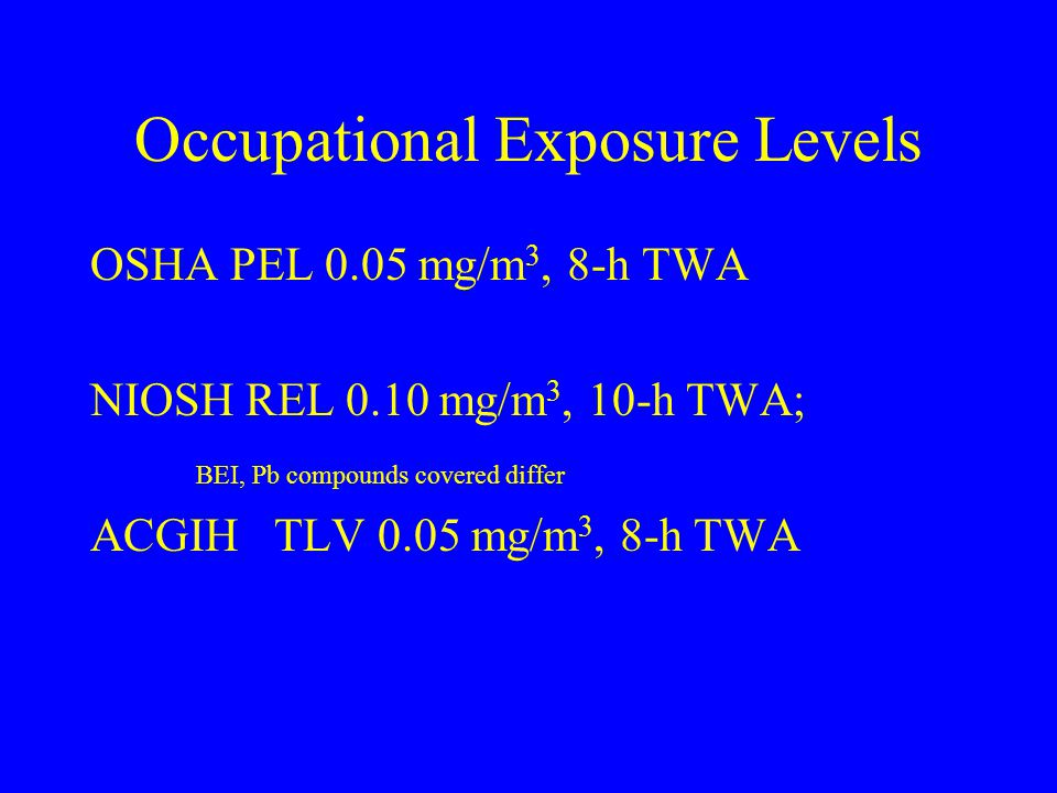 Occupational Exposure Levels OSHA PEL 0.05 mg/m 3, 8-h TWA NIOSH REL 0.10 mg/m 3, 10-h TWA; BEI, Pb compounds covered differ ACGIH TLV 0.05 mg/m 3, 8-