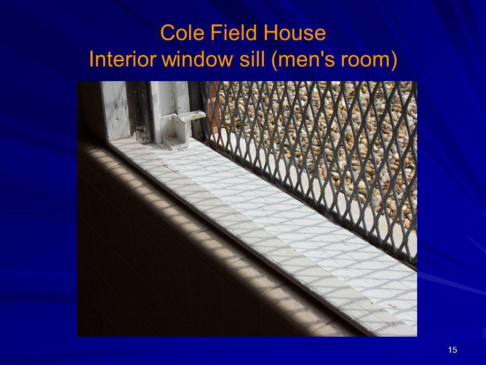 Cole Field House Interior window sill (men's room) 15