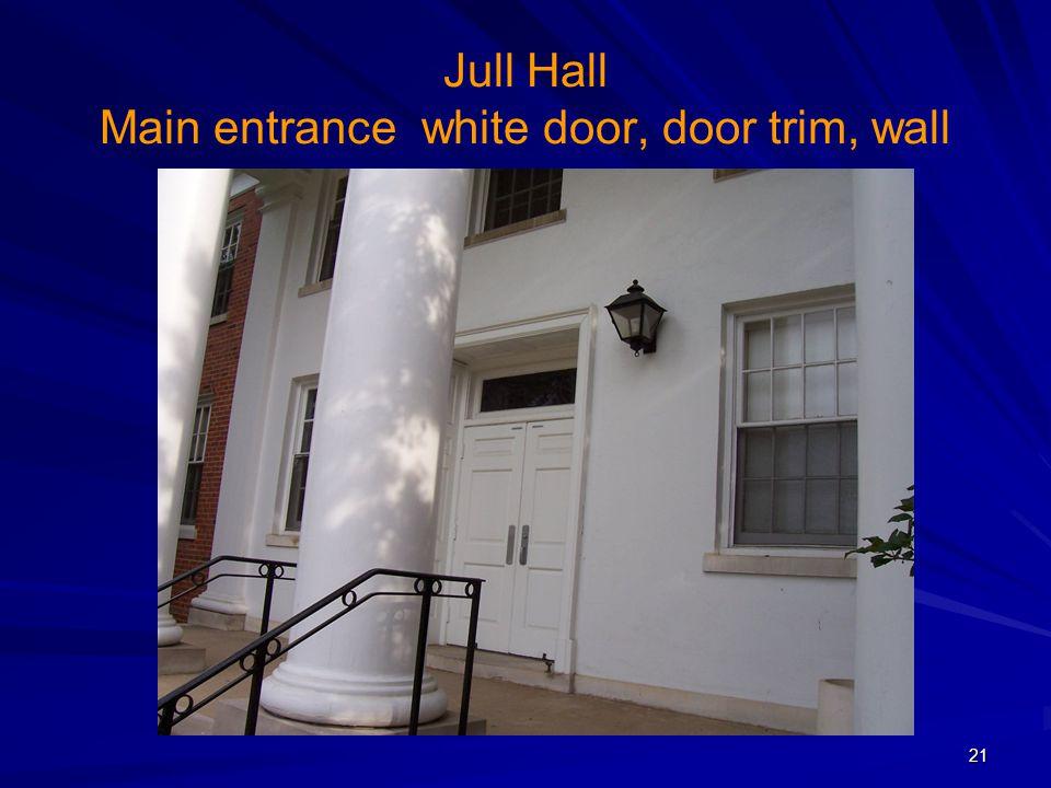 Jull Hall Main entrance white door, door trim, wall 21
