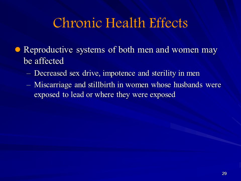 29 Chronic Health Effects Reproductive systems of both men and women may be affected Reproductive systems of both men and women may be affected –Decre