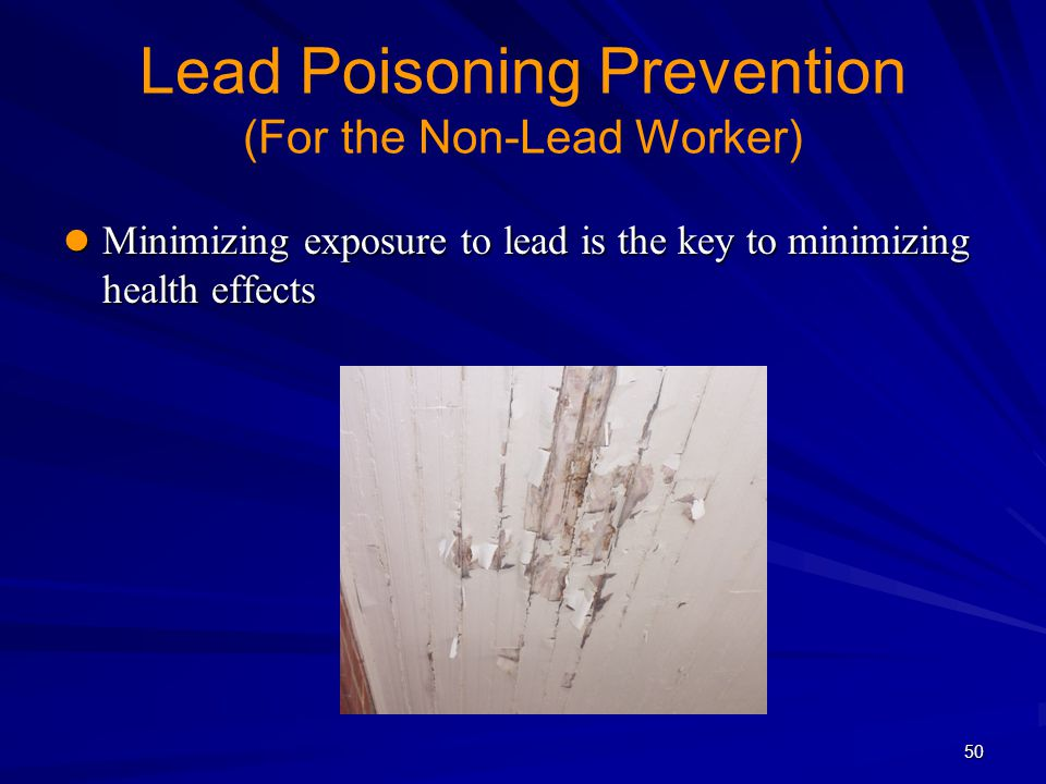 50 Lead Poisoning Prevention (For the Non-Lead Worker) Minimizing exposure to lead is the key to minimizing health effects Minimizing exposure to lead