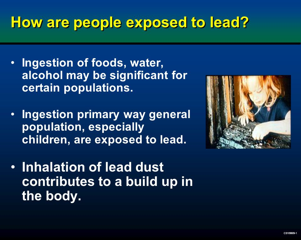 CS109909-1 How are people exposed to lead? Ingestion of foods, water, alcohol may be significant for certain populations. Ingestion primary way genera