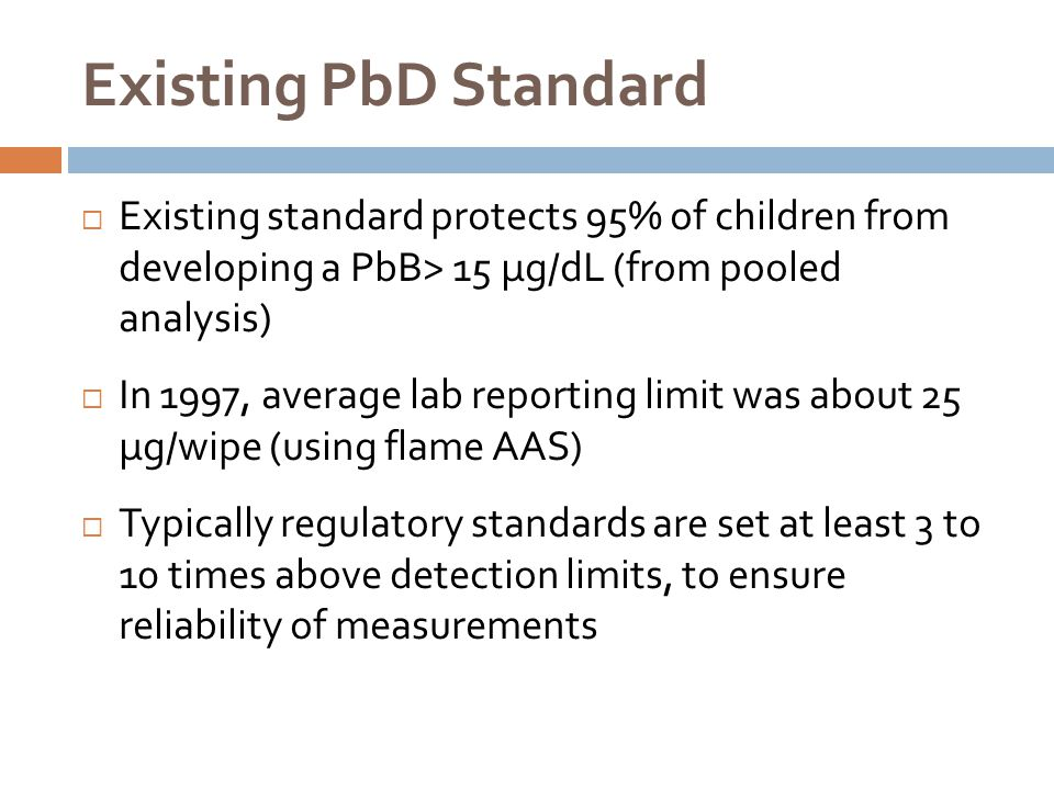 Existing PbD Standard  Existing standard protects 95% of children from developing a PbB> 15 µg/dL (from pooled analysis)  In 1997, average lab repor