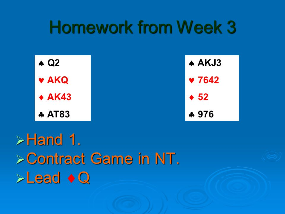 Homework from Week 3  Hand 1.  Contract Game in NT.