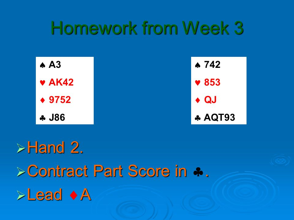 Homework from Week 3  Hand 2.  Contract Part Score in.
