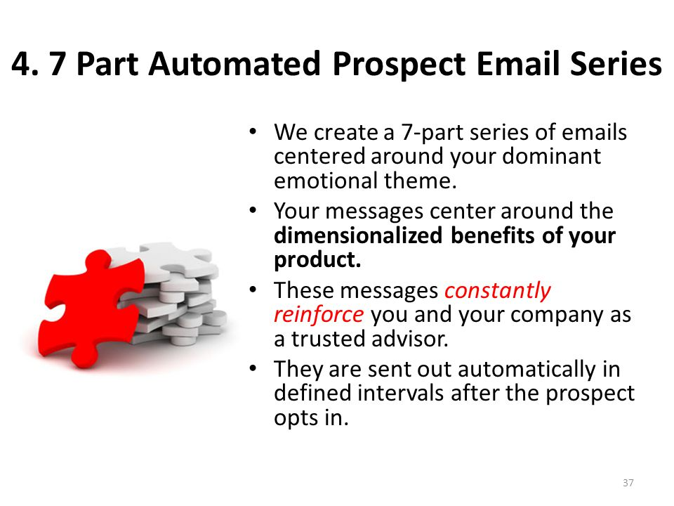 4. 7 Part Automated Prospect Email Series We create a 7-part series of emails centered around your dominant emotional theme. Your messages center arou