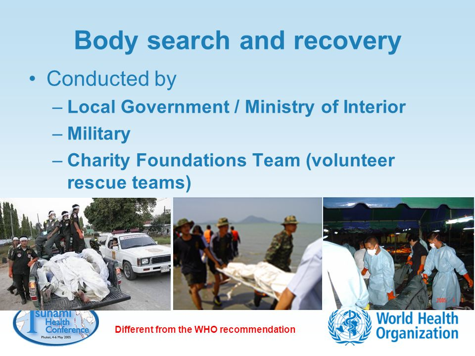 Body search and recovery Conducted by –Local Government / Ministry of Interior –Military –Charity Foundations Team (volunteer rescue teams) Different