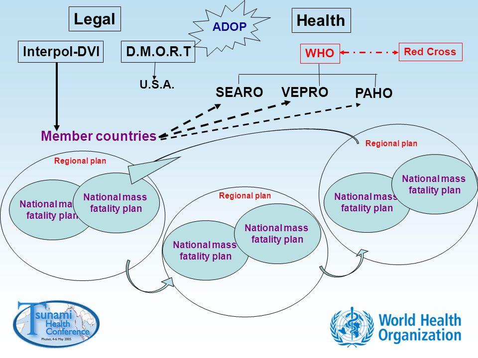 Legal Health Interpol-DVID.M.O.R.T WHO SEAROVEPRO PAHO Red Cross Member countries U.S.A. National mass fatality plan National mass fatality plan Regio