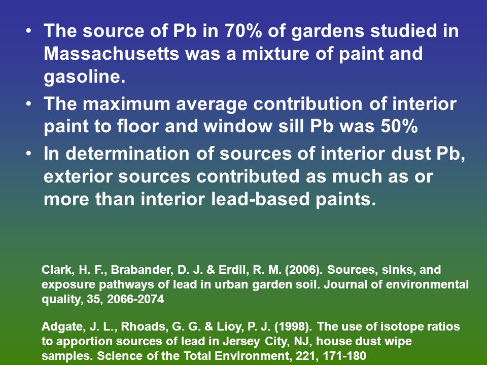 The source of Pb in 70% of gardens studied in Massachusetts was a mixture of paint and gasoline.