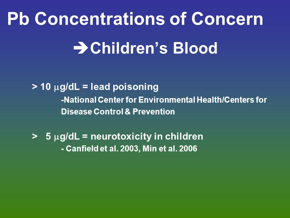 Pb Concentrations of Concern  Children's Blood > 10  g/dL = lead poisoning -National Center for Environmental Health/Centers for Disease Control & P
