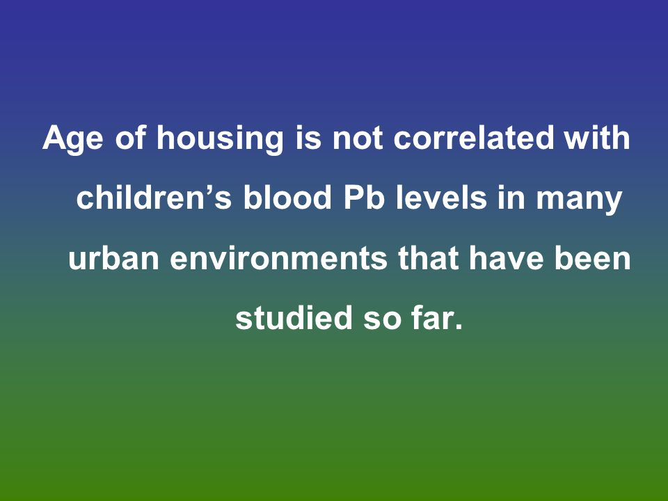 Age of housing is not correlated with children's blood Pb levels in many urban environments that have been studied so far.