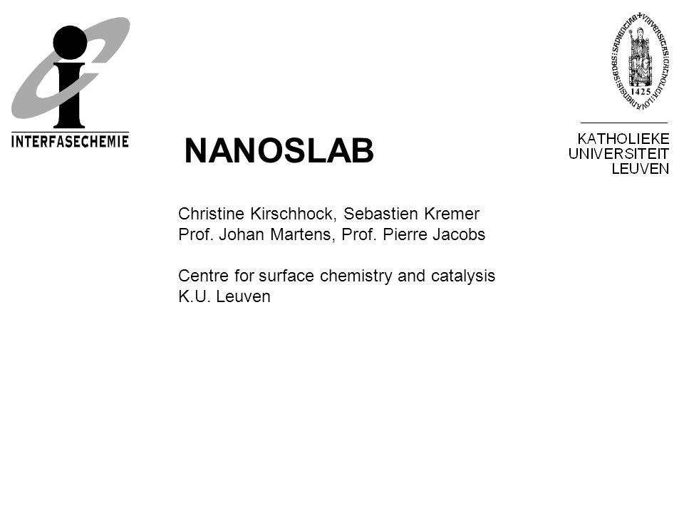 Christine Kirschhock, Sebastien Kremer Prof. Johan Martens, Prof. Pierre Jacobs Centre for surface chemistry and catalysis K.U. Leuven NANOSLAB